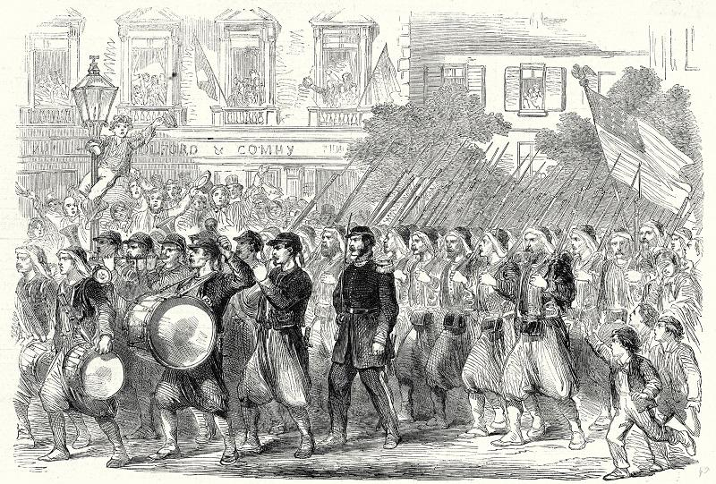 The 5th Regiment Of New York Zouaves Passing Through Broadway On Their Way To Embark For The War Down South, 22 June, 1861.