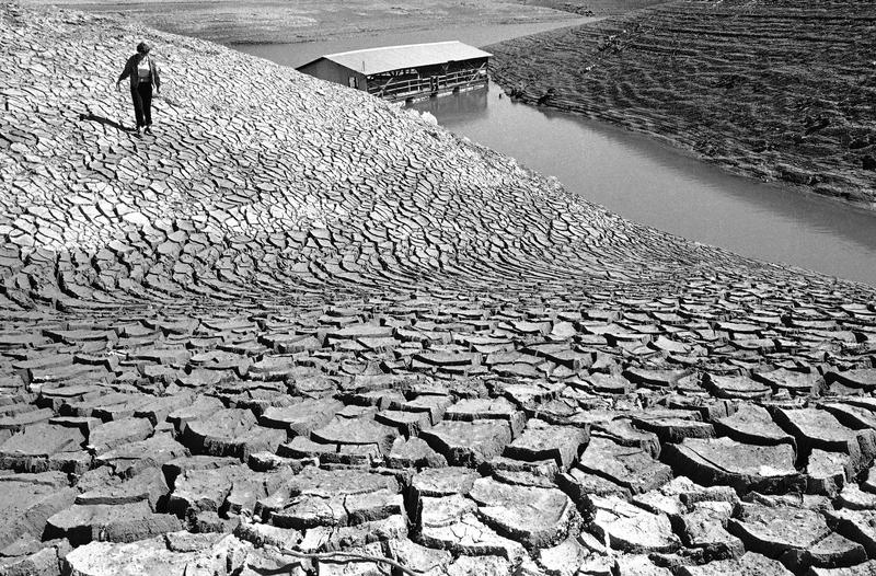 Mud, left baking in the sun by receding water at Pardee Reservoir near Jackson, Calif., March 9, 1977, cracked into surrealistic patterns during a drought in Northern California.