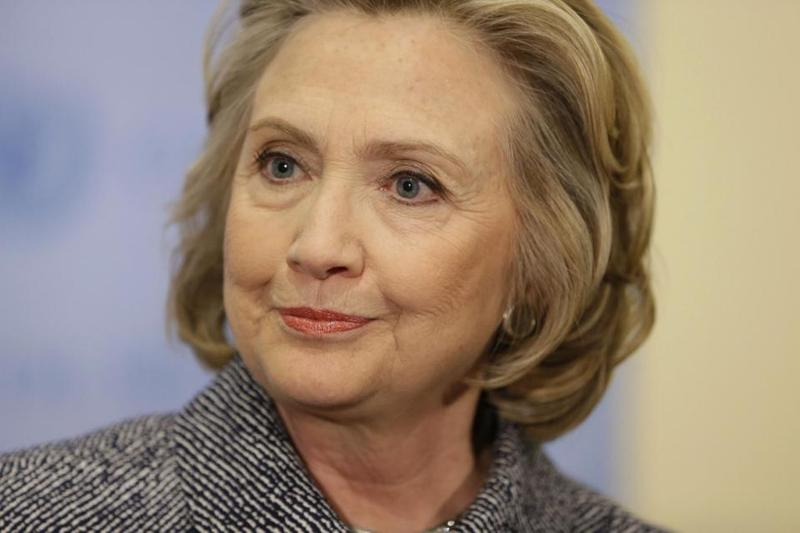 Hillary Rodham Clinton speaks to the reporters at United Nations headquarters, Tuesday, March 10, 2015.