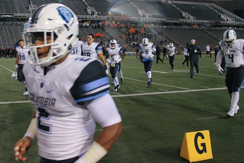 Columbia defensive back Trevor Bell leaves Princeton's stadium after Friday night's cold, wet game.