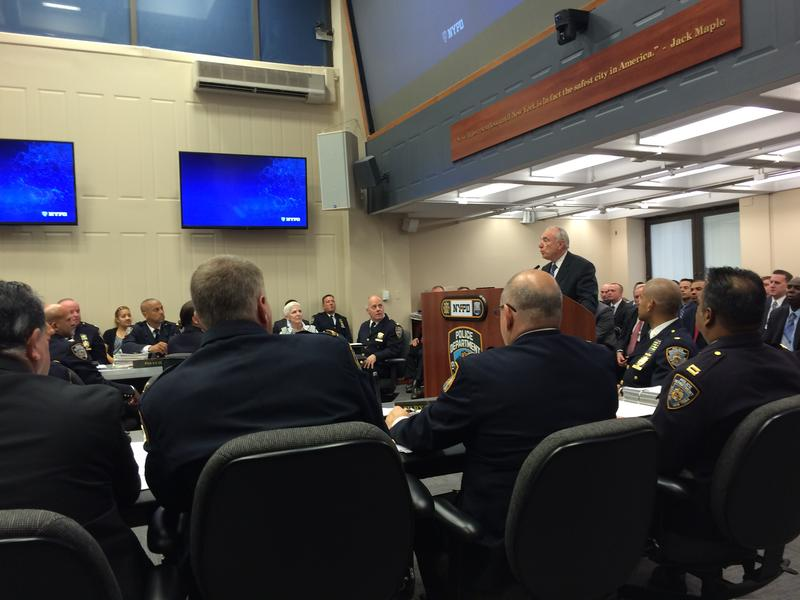 NYPD Commissioner William Bratton addresses top officers at the final weekly CompStat meeting before he retires from the department.