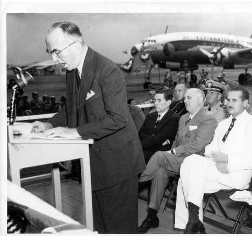 Captain Eddie Rickenbacker speaking at the inaugural flight of Eastern Air Lines' non-stop service from New York City to San Juan, Puerto Rico, March 26, 1951.