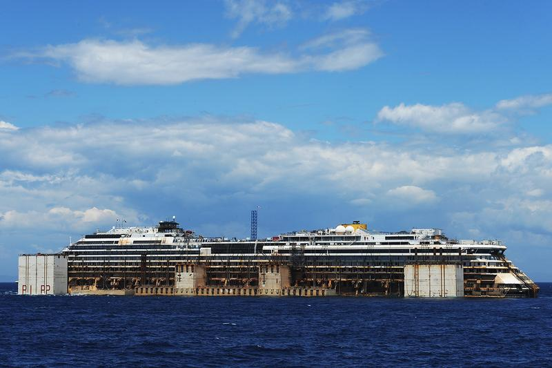 Costa Concordia departs the island of Giglio to be scrapped.
