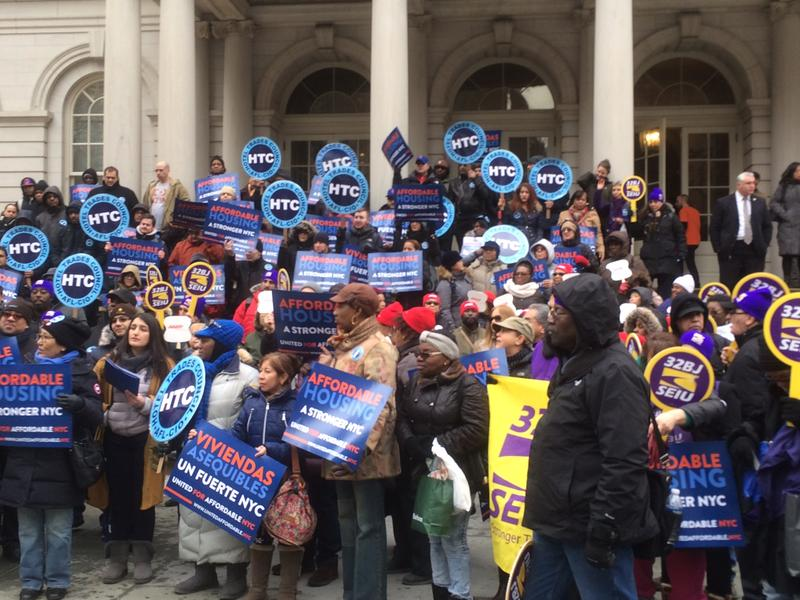 At a city council hearing on affordable housing in Feb. 2016, labor unions rallied in favor of and against Mayor de Blasio's plans.
