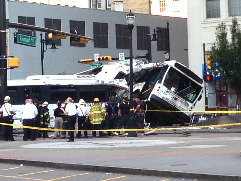 Two NJ Transit buses collided in Newark at the intersection of Raymond Boulevard and Broad Street on Friday, August 19, 2016.