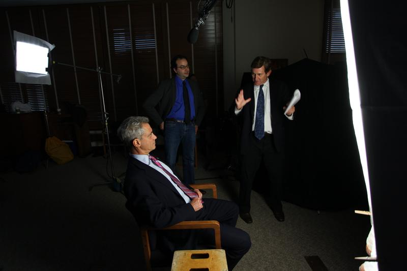 Author Chris Whipple (right) chats with Chicago Mayor Rahm Emanuel. Emanuel was President Barack Obama's first chief of staff.