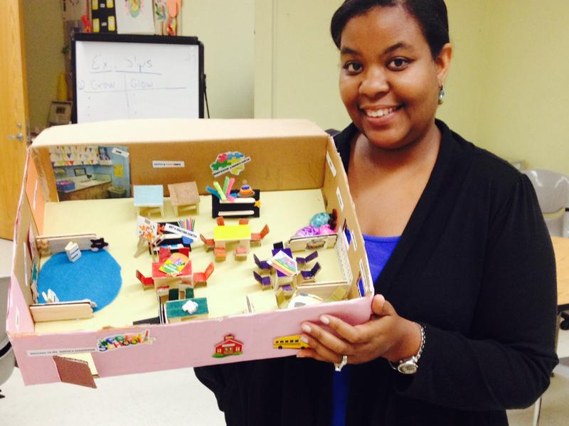 As a project in her CUNY program, Tahese Warley made a diorama showing a pre-k classroom layout.