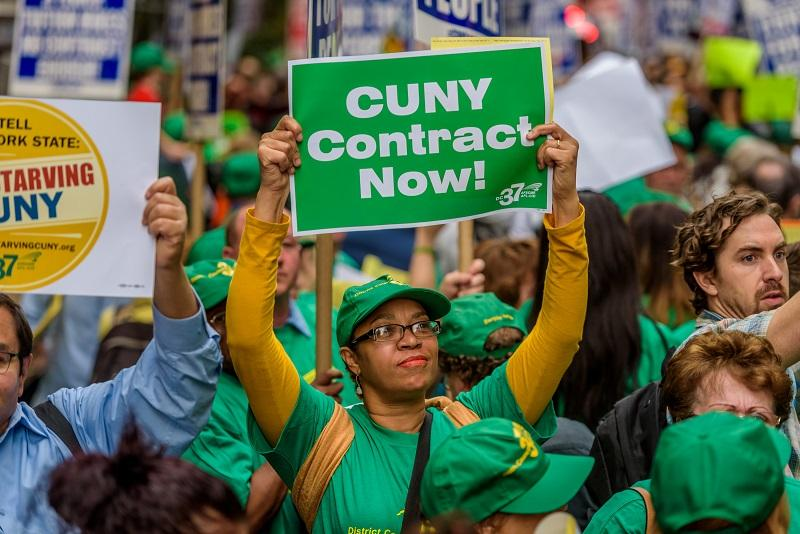 City University of New York workers and students rallied outside Governor Andrew Cuomo's offices in New York City protesting the funding cuts and demanding better wages and fair tuition on 3/10/2016.