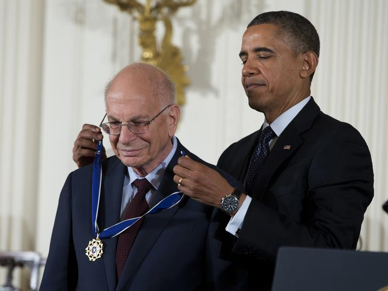 President Barack Obama awards psychologist Daniel Kahneman with the Presidential Medal of Freedom, Wednesday, Nov. 20, 2013