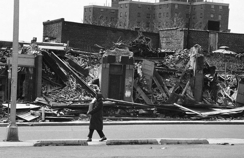 A pedestrian along blighted Springfield Ave., in Newark, N.J., May 1, 1974, focal point of bitter rioting in 1967
