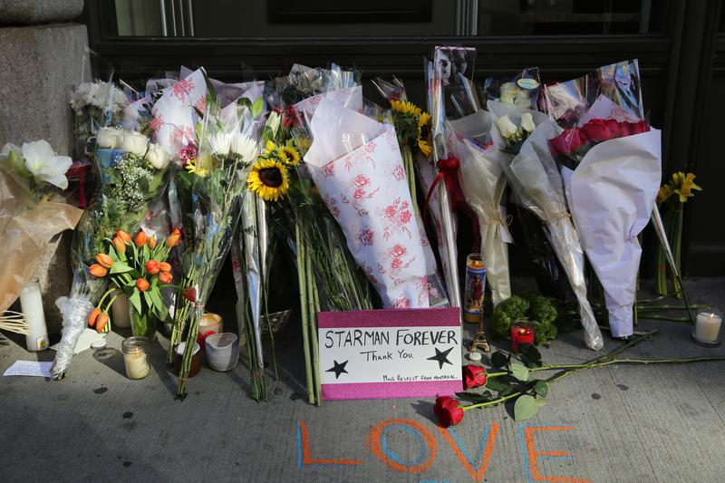Memorial outside David Bowie's home in Soho, New York City
