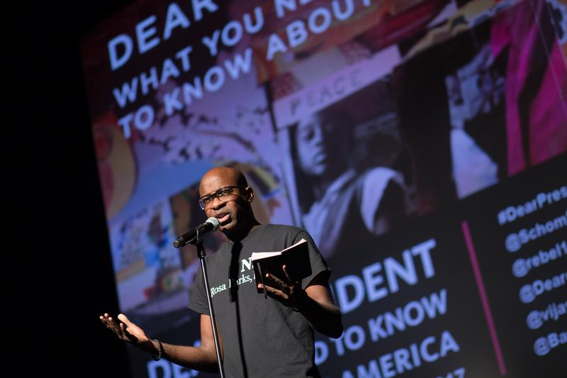 Comedian Khalid Rahmaan performs his 'Dear President' routine at held at the Schomburg Center for Research in Black Culture.
