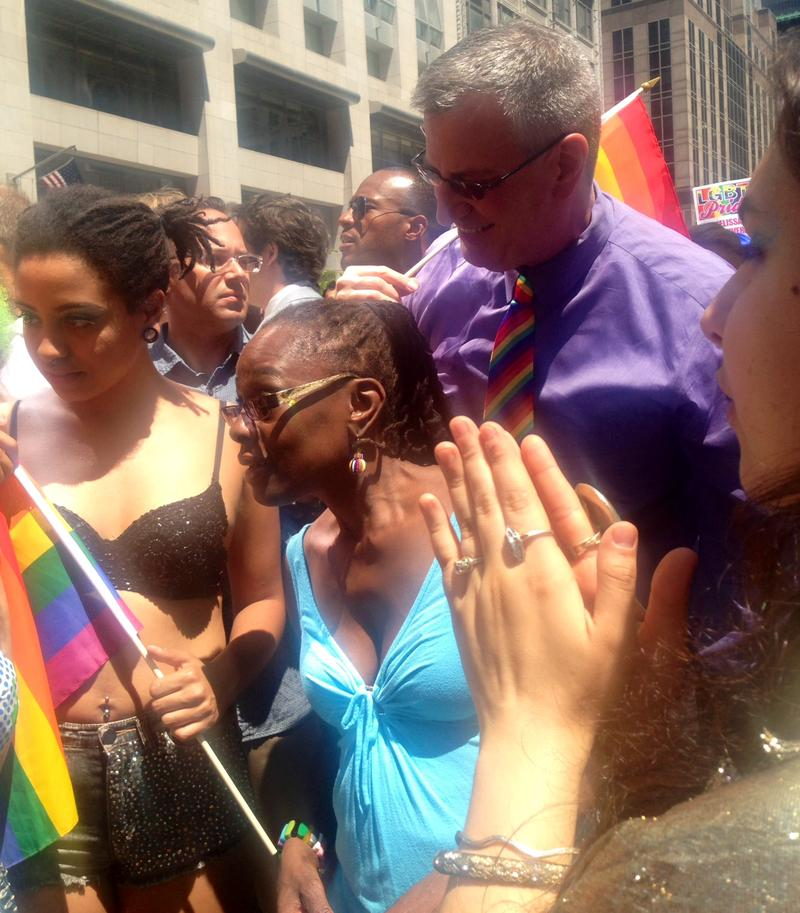Mayor de Blasio with his family at the Pride parade in New York City.