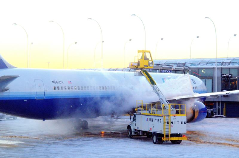 A plane being de-iced at Chicago's O'Hare Airport