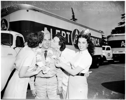 "Alert America Caravan in the Los Angeles area, 15 May 1952. Mary Elizabeth at Lee (CQ); Corporal Sam Leible; Shiloh Williams; Jeanne Lambros, ""Miss Alert America""."