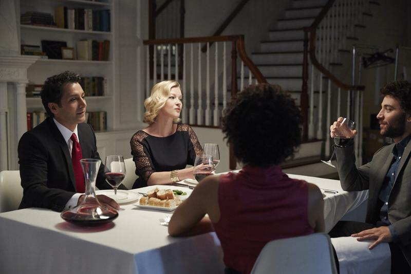 Hari Dhillon, Gretchen Mol, Josh Radnor and Karen Pittman in 'Disgraced.'
