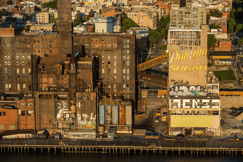 An aerial image of Brooklyn's defunct Domino Sugar factory