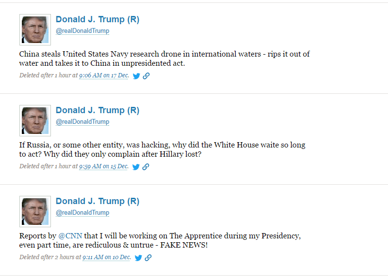 Screenshot of several deleted tweets on Politwoops