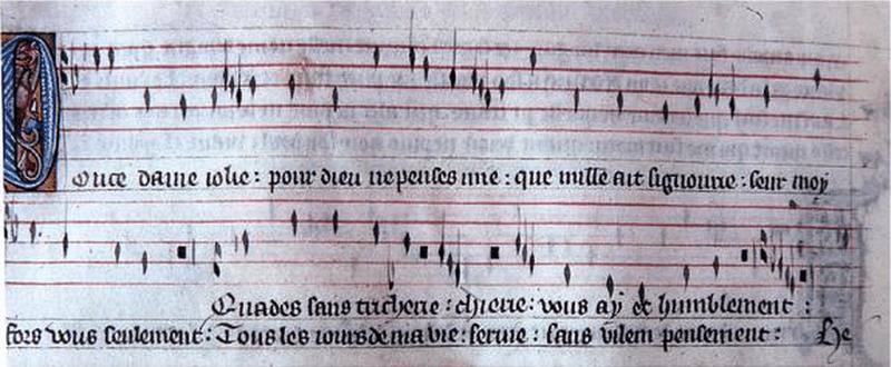 "Manuscript of the virelai ""Douce Dame jolie"" in French rhythmic notation"