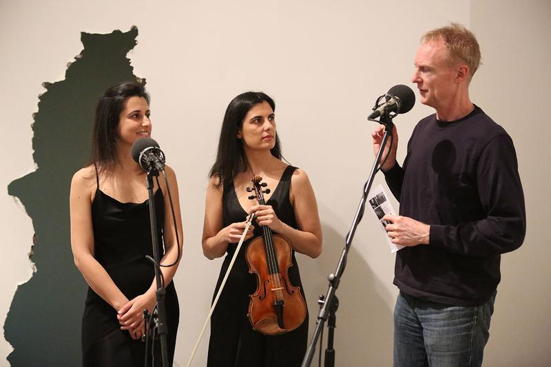 Duo Gazzana's Raffaella and Natascia Gazzana with host John Schaefer on May 2, 2014