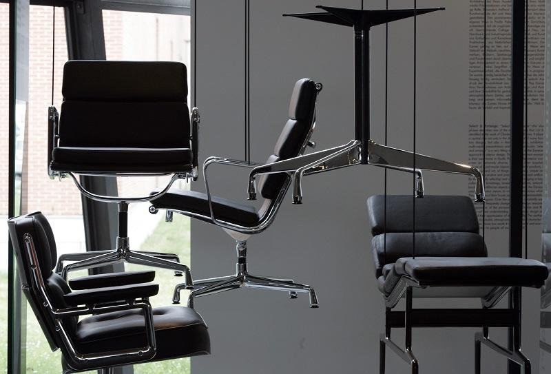 """""""Lobby Chair"""" in an exhibition called, """"The Furniture of Charles and Ray Eames - Products, Processes, Prototypes,"""" at the Vitra Design Museum,  Weil am Rhein, Germany, in March 2007."""