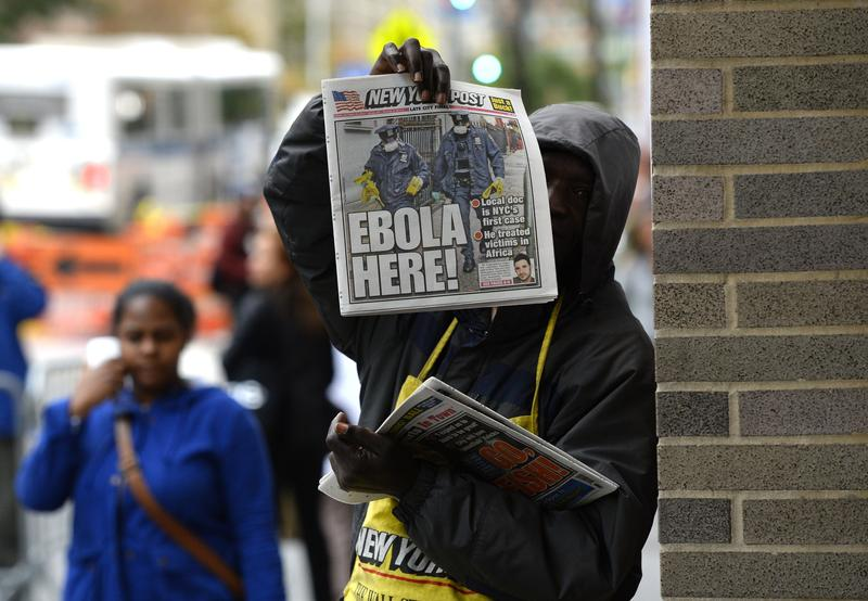 The front page of the New York Post, announcing news of the first confirmed Ebola case in New York City.