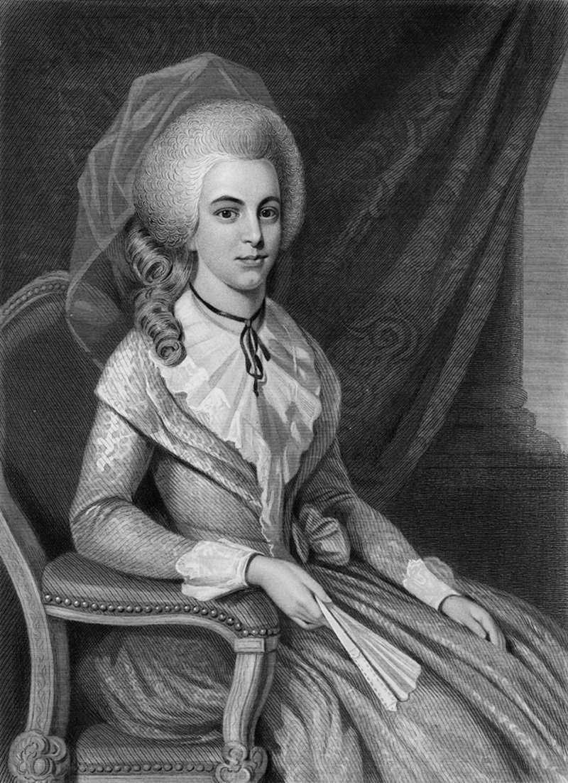 Elizabeth Schuyler Hamilton (1757 - 1854), the wife of US Founding Father Alexander Hamilton, 1781. From an original painted in 1781 by R. Earl.