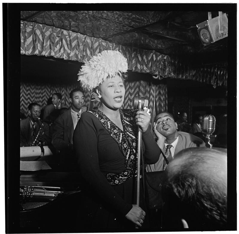 Portrait of Ella Fitzgerald, Dizzy Gillespie, Ray Brown, Milt (Milton) Jackson, and Timmie Rosenkrantz, Downbeat, New York, N.Y.