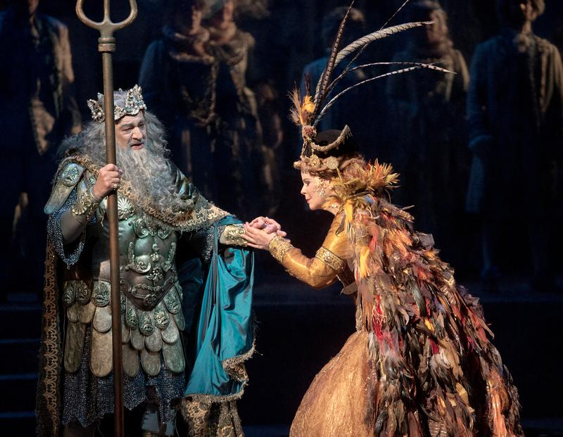 """Plácido Domingo as Neptune, King of the Seas, and Susan Graham as Sycorax in the Baroque pastiche """"The Enchanted Island."""""""