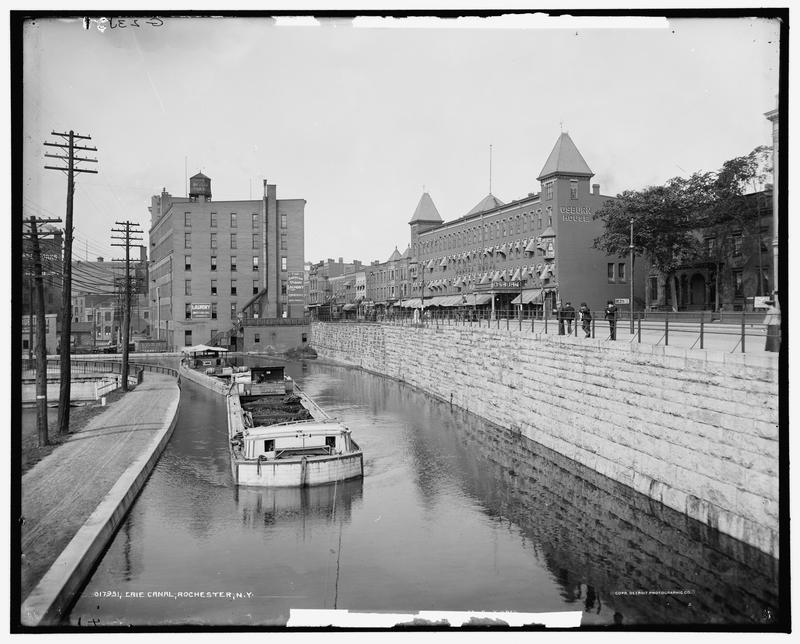 The Erie Canal in Rochester, New York around 1900.