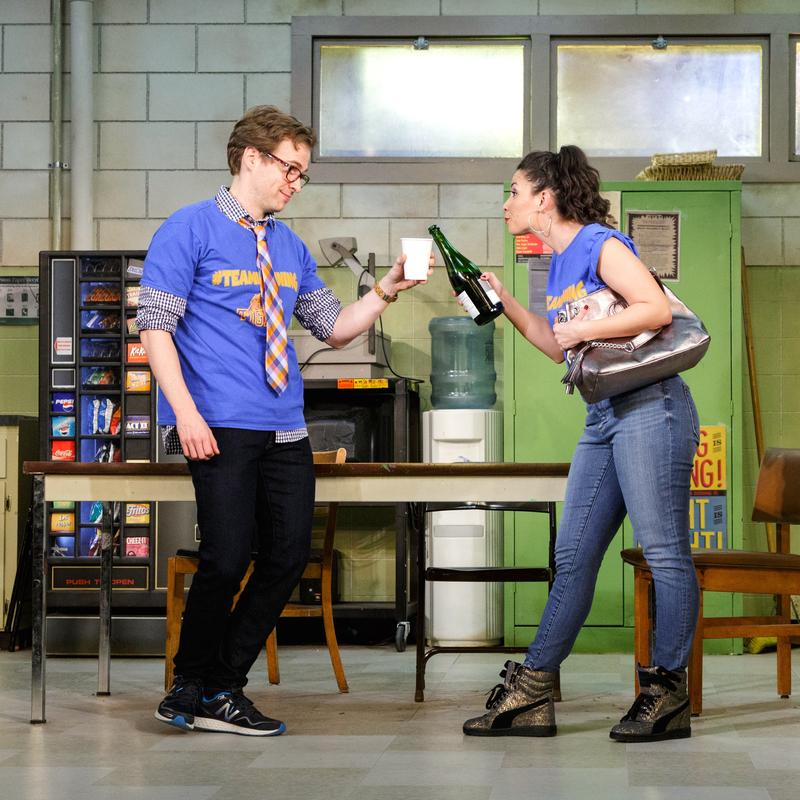 (from left) Ryan Spahn and Christina Nieves in the Primary Stages production of Exit Strategy by Ike Holter, directed by Kip Fagan, at Primary Stages at the Cherry Lane Theatre.