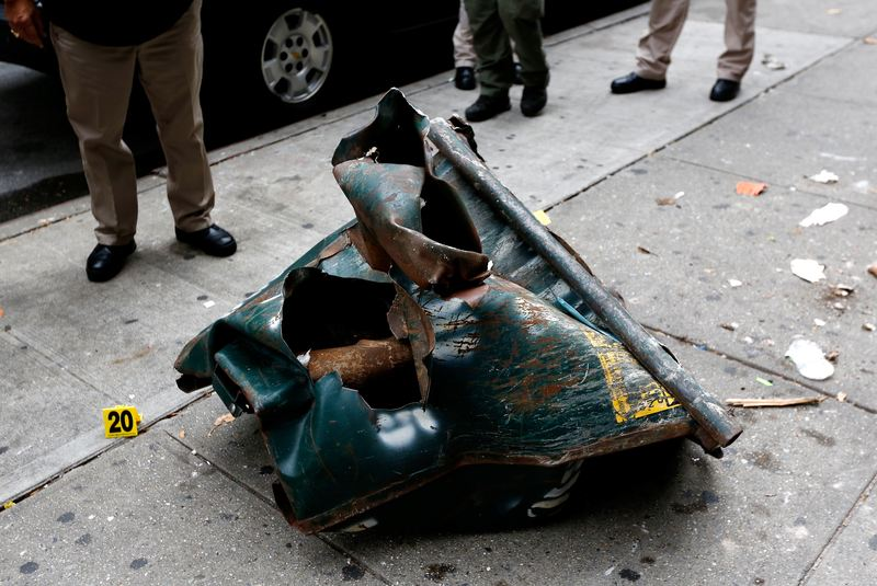 A view of a mangled construction toolbox, Sunday, Sept. 18, 2016, at the site of an explosion that occurred on Saturday night in Chelsea.