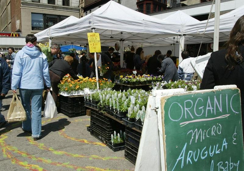 Vendors offer organically grown produce at the Union Square farmers market April 16, 2005 in New York City.