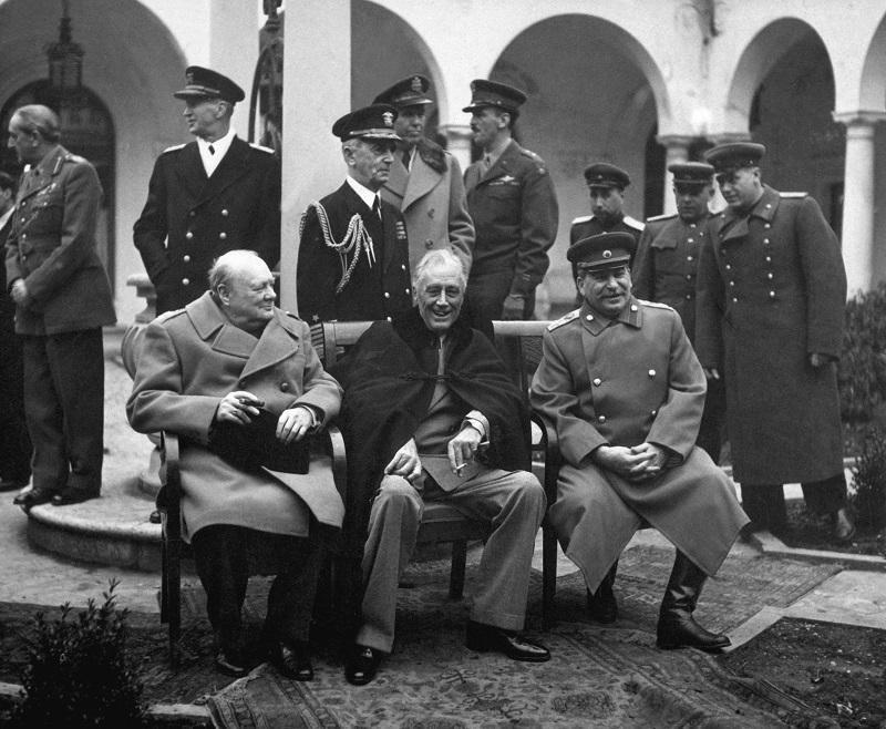 Conference of the Allied leaders, Yalta, Crimea, USSR, February 1945. British Prime Minister Winston Churchill (1874-1965), US President Franklin D Roosevelt (1882-1945) & Soviet leader Joseph Stalin.