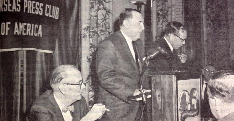IRS Manhattan District Director Edward J. Fitzgerald at the mic speaking to the Overseas Press Club in March 1967.