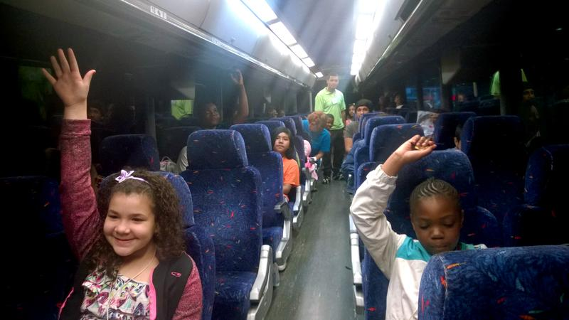 NYC schoolchildren leaving for Upstate New York as part of a Fresh Air Fund program.