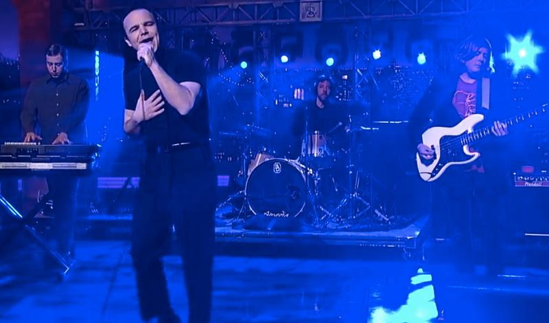 Future Islands performing on Late Show with David Letterman on March 3, 2014.