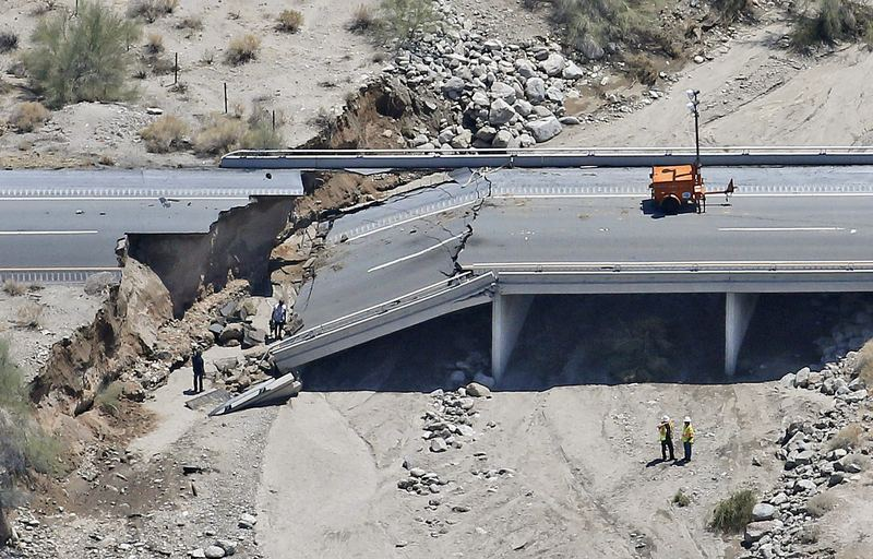 A collapsed elevated section of Interstate 10 in Desert Center, California, in 2015.
