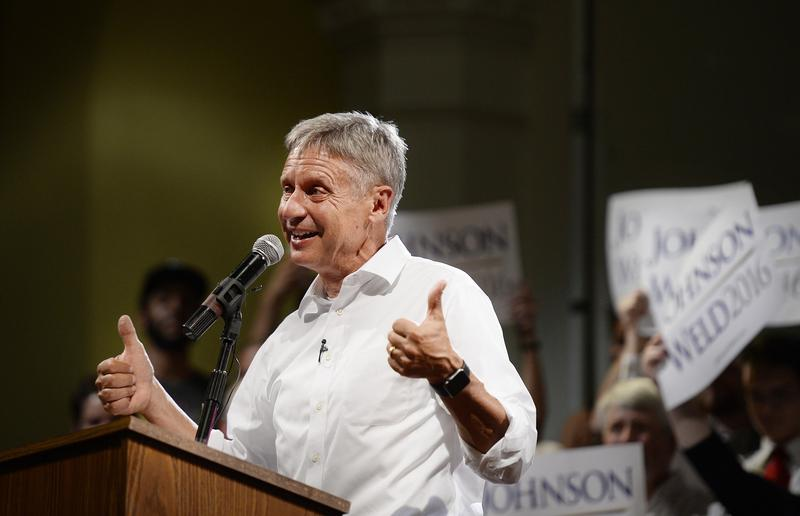 Libertarian Presidential Candidate Gary Johnson speaks at the Gendron Franco Center in Lewiston Friday, August 26, 2016.