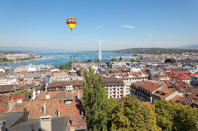 The city of Geneva in Switzerland, an aerial view.