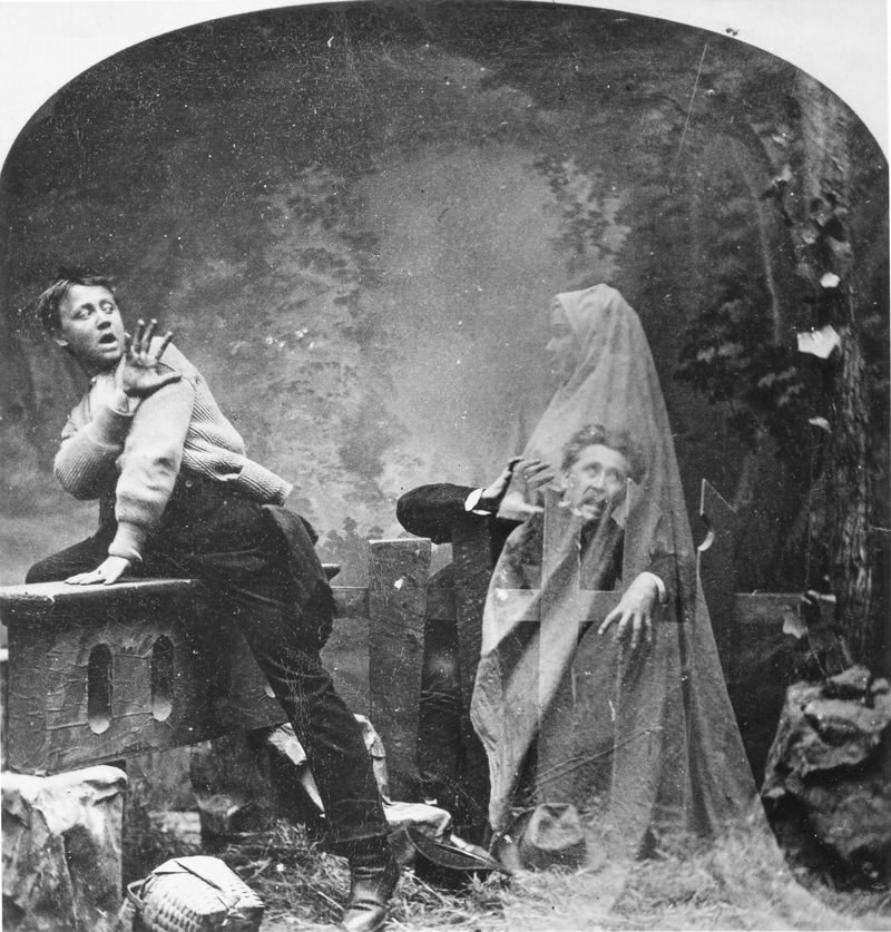 Trick photograph (by LM Melander and Brothers) entitled 'The Haunted Lane,' depicts a pair of men terrified by a female 'ghost,' mid to late 19th century.