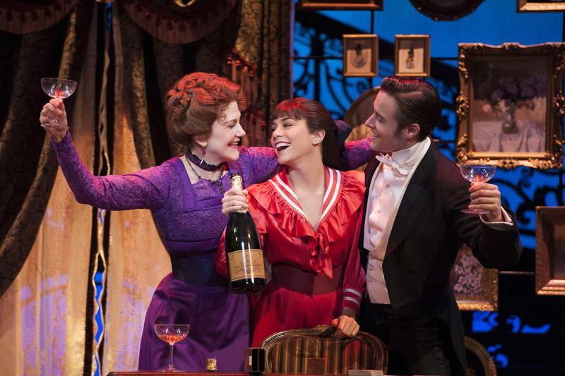 Victoria Clark as Mamita, Vanessa Hudgens as Gigi and Corey Cott as Gaston Lachaille in 'Gigi' at the Neil Simon Theatre.