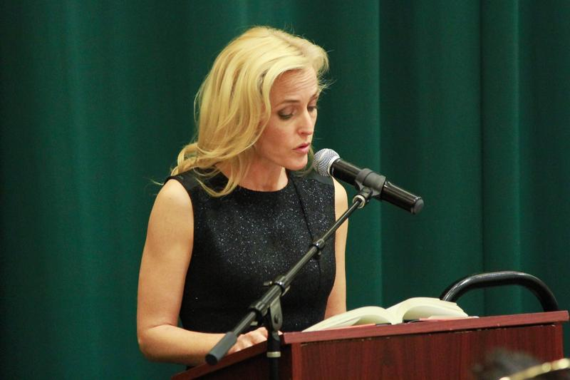 Gillian Anderson attends Gillian Anderson In Conversation With Jeff Rovin to promote new book 'A Vision of Fire' at Barnes & Noble Tribeca on October 8, 2014 in New York City.