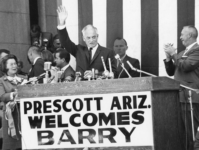 American politician US Senator Barry Goldwater (1909 - 1998) waves to supporters during his Presidential campaign, Prescott, Arizona, September 3, 1964.