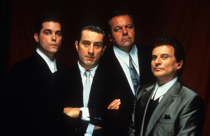 Ray Liotta, Robert De Niro, Paul Sorvino, and Joe Pesci publicity portrait for the film 'Goodfellas', 1990.