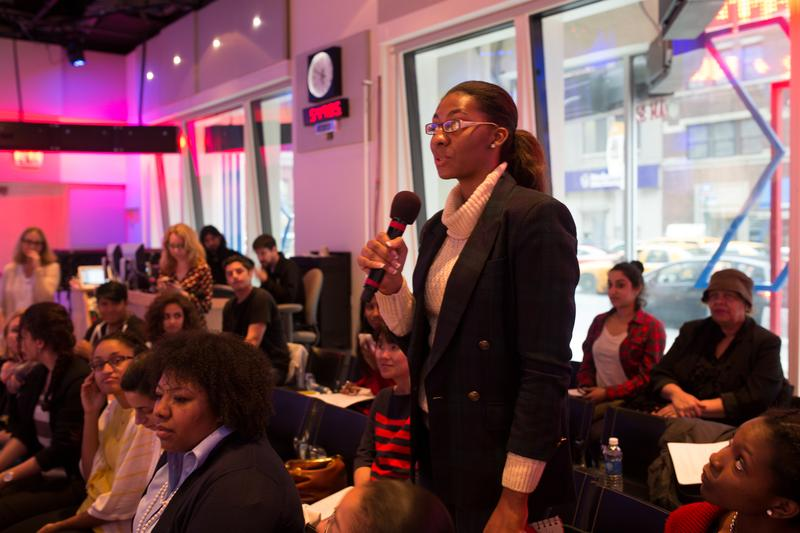A high school student asks about honors programs in NYC schools at a WNYC live event