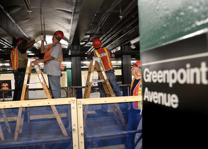 MTA workers repairing Sandy damage on the G train's Greenpoint tube in August, 2013