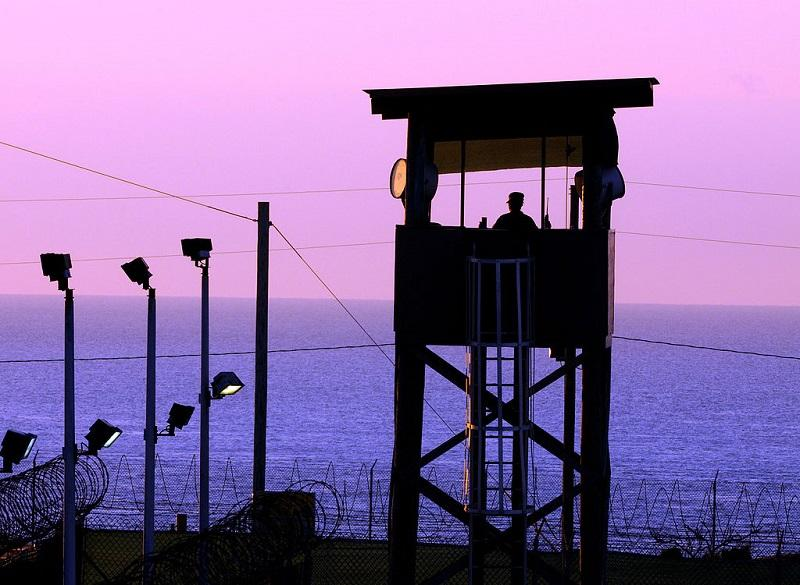 A watchtower at the Guantanamo Bay prison camp, at dusk, January 2011.