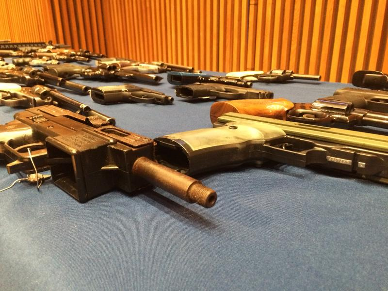 Weapons the NYPD and Manhattan District Attorney's Office took off the street as part of a gun trafficking case.