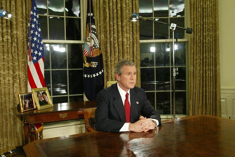 U.S. President George W. Bush addresses the nation March 19, 2003 in the Oval Office of the White House. He announced that the U.S. military struck at 'targets of opportunity' in in Iraq on March 19.